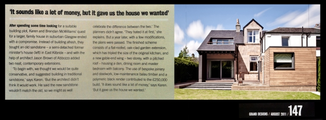 abbozzo residential project featured in grand designs magazine - aug 2011